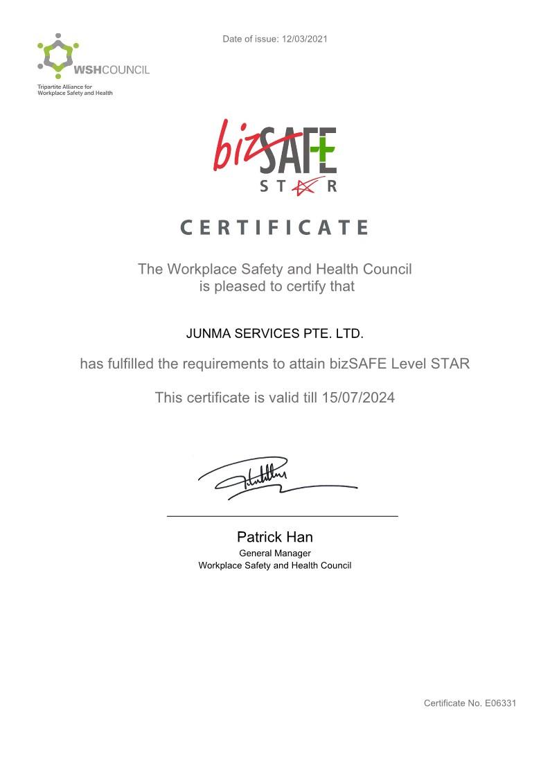 bizSAFE STAR (Workplace Safety & Health)